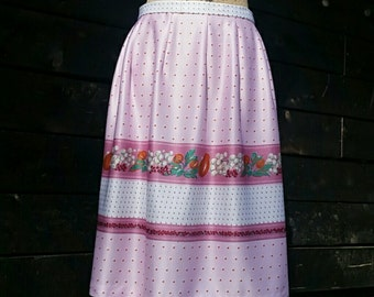 70's Fruits Pink Orange Midi Skirt Vintage Women's S M