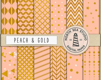 BUY5FOR8 Gold Digital Paper Peach And Gold Paper Gold Patterns Digital Scrapbooking 12 JPG 300 DPI Files Download