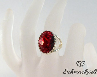 Ring vintage, ring Ruby, Crystal ring, silver ring, Solitaire ring, Crown ring, split ring rail, adjustable, Siam, statement ring,