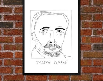 Badly Drawn Joseph Conrad - Literary Poster - *** BUY 4, GET A 5th FREE***