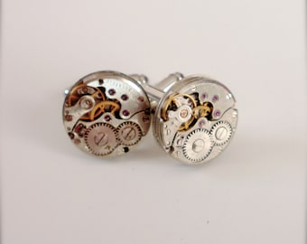 Steampunk Cufflinks, Watch Movements Cufflinks, Steampunk Accessories, Men's Cufflinks, Steampunk Jewelry, Best Man Cufflinks Gear Cufflinks