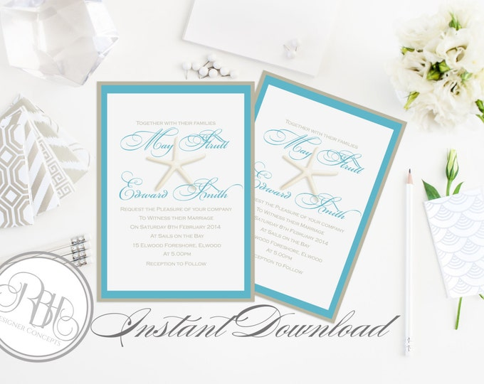"Beachside Wedding Invitation Template-INSTANT DOWNLOAD-5x7 PDF Editable Text Only-Starfish Beachside Wedding-Turquoise & White-""Natahlia"""