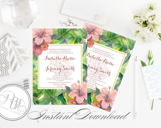 "Tropical Island Invitation-INSTANT DOWNLOAD Template-Wedding 5x7 PDF Editable Text Only-Tropical Watercolor Hibiscus Printable - ""Lucinda"""