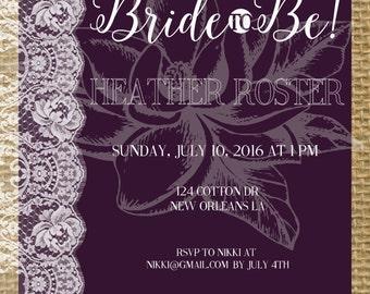 Purple Lace Bridal Shower Invitation