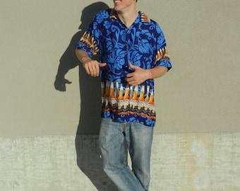 hawaiian corona button down shirt size large/ xl
