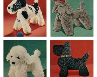 Vintage Crochet Dogs Pattern  Scottie, French Poodle Jr, French Poodle Senior, Wirehair
