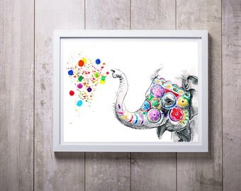 Elephant decor, nursery decor, kids room, animal art print, nursery decor painting, animal illustration, new baby gift, nursery art