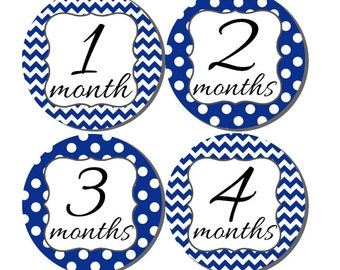 Baby Month Stickers- Milestone Sticker- Baby Boy Month Stickers- Monthly Stickers- 12 month stickers- Milestone Baby Month Stickers- B21