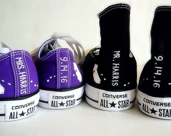 Bride and Groom Converse, Wedding Shoes Home State Hand Painted Shoes, Low and High Tops, Mr. & Mrs., Custom Converse, Chuck Taylors