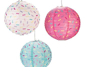 3/ Donut Party Lanterns/ Party Hanging decorations/ sprinkles/ Colorful party/Girl Party