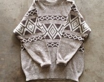 ON SALE! Vintage Knit Sweater / 1970s Sweater / Vintage Turtleneck / Ethnic, Hippie, Boho, Tribal, Brown