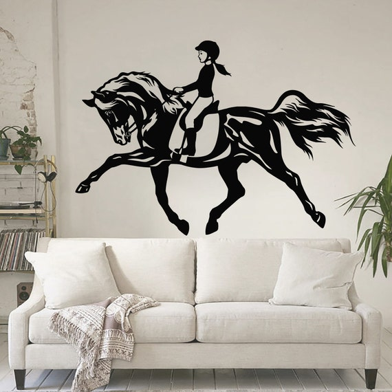 Horse wall decals vinyl sticker horsewoman decal by cozydecal for Equestrian wall mural