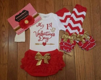 """READY To SHIP , My 1st Valentine's Day""""Onesie,lace ruffled Bloomers, Leg Warmers,& Hdbnd Set"""