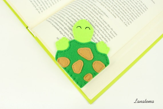 Felt turtle corner bookmark, kid bookmark, reading accessory, turtle animal