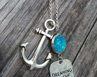 Dreaming of the Sea Necklace, Charm Necklace, Mermaid Necklace, Anchor