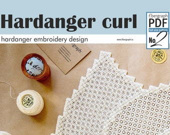 Instant Download Hardanger Embroidery Curl Design in PDF - Hardanger Embroidery Pattern