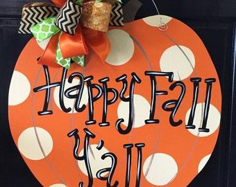 Polka Dot Pumpkin Door Hanger, Door Decoration, Whimsical Pumpkin, Fall Decor, Fall Wreath, Wooden Pumpkin