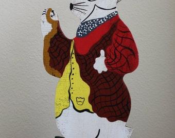Vintage Hand Made Painted Wooden Cutout White Rabbit Gentleman Rabbit Standing Sign