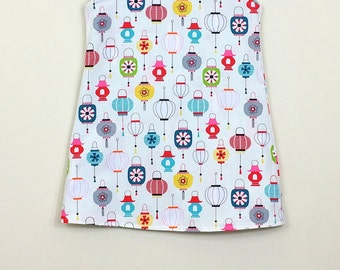 """Size 3 - Fully Reversible  - """"Alexandra Dress"""" - Bright Lanterns and Atomic Cats with ric rac for added fun."""