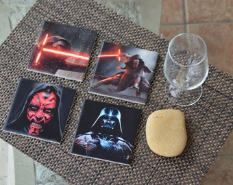 """Star wars coasters 4""""x4"""" & cork! Great Gift, souvenirs ! Set of 4!"""