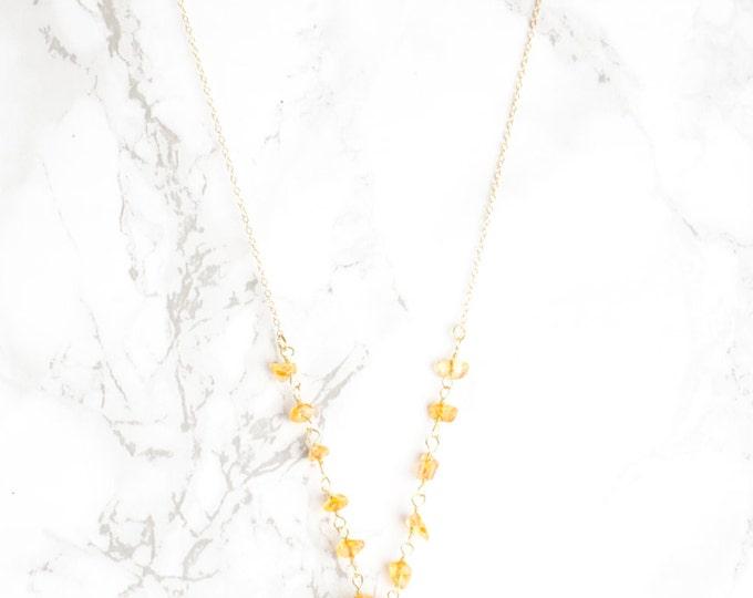 Amber and Quartz Drip Necklace