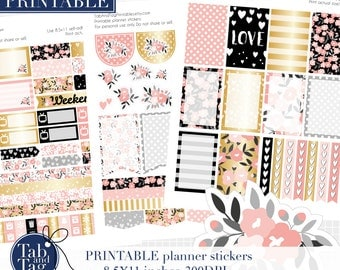 3 pack kit for BIG MAMBI Happy planner. Pink black gold floral printable stickers plus black outlines to trace in Silhouette Studio.