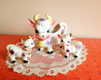 Super cute family of cows with creamer and salt and pepper shakers