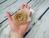 Bobby pin wedding hair clip  burlap and lace handmade flower bridal hair piece pearl rustic custom