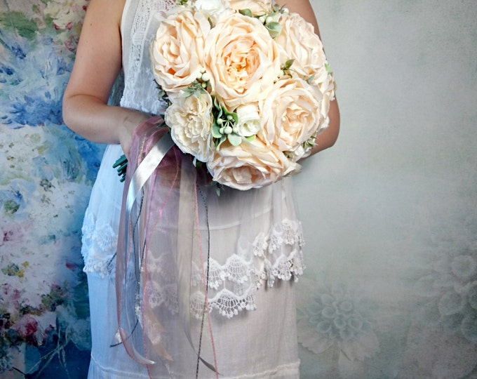 READY to SHIP Big silk peonies rustic wedding BOUQUET ivory cream peach flowers boho chiffon satin ribbons custom best quality