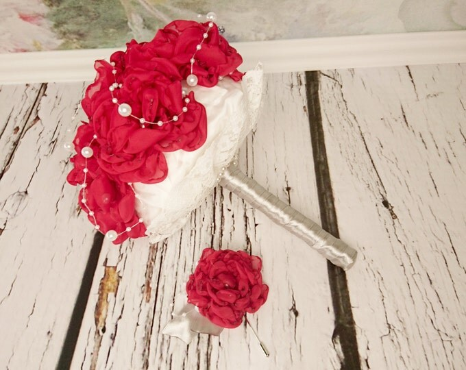 READY to SHIP White red silver Fabric Bouquet winter Wedding Bridal Bouquet with Pearls HANDMADE flowers brooch cotton lace satin handle