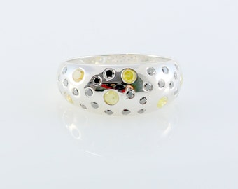 Colour Full Band Sterling Silver Diamond Ring KD149