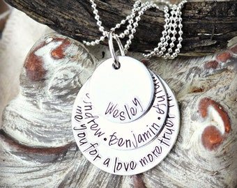 Grandma Name Necklace - Mother's Necklace - Kid's Name Necklace - Mothers Stamped Necklace- Layered Pendant Necklace - Personalized Stamped
