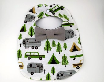Camping Baby Bib - Bowtie Bib - Bow-tie Baby Bib - Dribble Bib - First Birthday Gift - Unique Baby Shower Gifts - Hipster Baby Bib