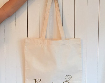 Wedding tote bag, bride tote bag with ring, bachelorette tote, bridal tote, wedding party gifts, canvas tote bag, wedding favor bag