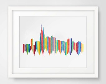 Very Stripey Nashville Skyline--Watercolor Original Print with stripes and bright colors