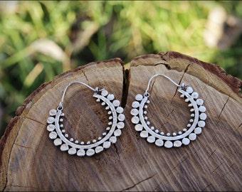 Small Silver earrings.  Silver plated. Tribal earrings. Hoop Earrings ethnic style.