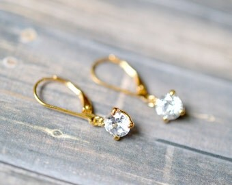 Sterling Silver Gold Vermeil Traditional CZ Dangle French Hook Earrings