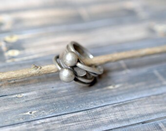 Modernist Sterling Silver Wire and Ball Wrap Wide Band Ring