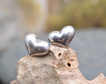 Sterling Silver Puffed Heart Post Earrings