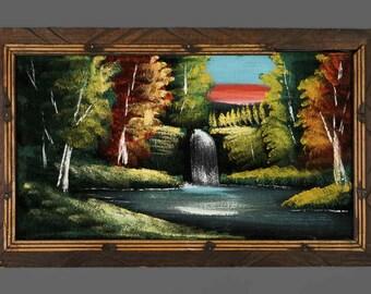 "Vintage Acrylic Painting On Velvet Waterfall Idyllic 22.5"" x 13.5"""