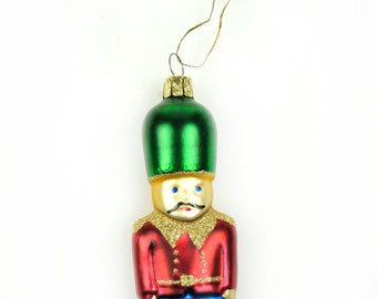 "4"" Glass Soldier Christmas Ornament Nutcracker Red Blue Green Color Small Miniature Tree Ornament Christmass Blown"
