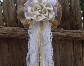 Wedding Burlap Bow  Vintage Lace Wedding Bow-Pew Shabby Rustic Chic Decorations