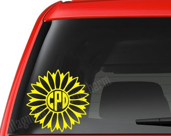 Sunflower Monogram Decal - Monogram Decal - Sunflower Car Decal
