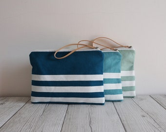 wrist hand printed fabric bag small with white stripes, colours of the sea
