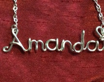 Amanda necklace,Name Necklaces,Personalized wedding jewelery,Birthday gift,Bridesmaid necklace,Custom Name necklace