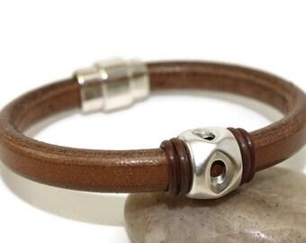 Mens leather bracelet mens bracelet bangle bracelet licorice leather brown leather bracelet mens gift magnetic clasp LLB-32-07