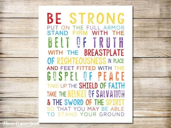 Printable Art Armor Of God Bible Verse Christian Nursery Decor