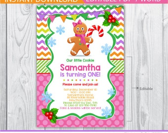 gingerbread birthday invitation / gingerbread invitation / Christmas birthday invitation / gingerbread house birthday invitation / printable