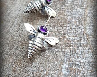 Silver Bee Earrings, Amethyst Bee Earring, Sterling Queen Bee Earrings, Bejeweld Bee Earrings, Gemstone Bee Earrings, February Birthstone