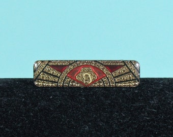 Enamel Deco Bar Pin - Red and Black